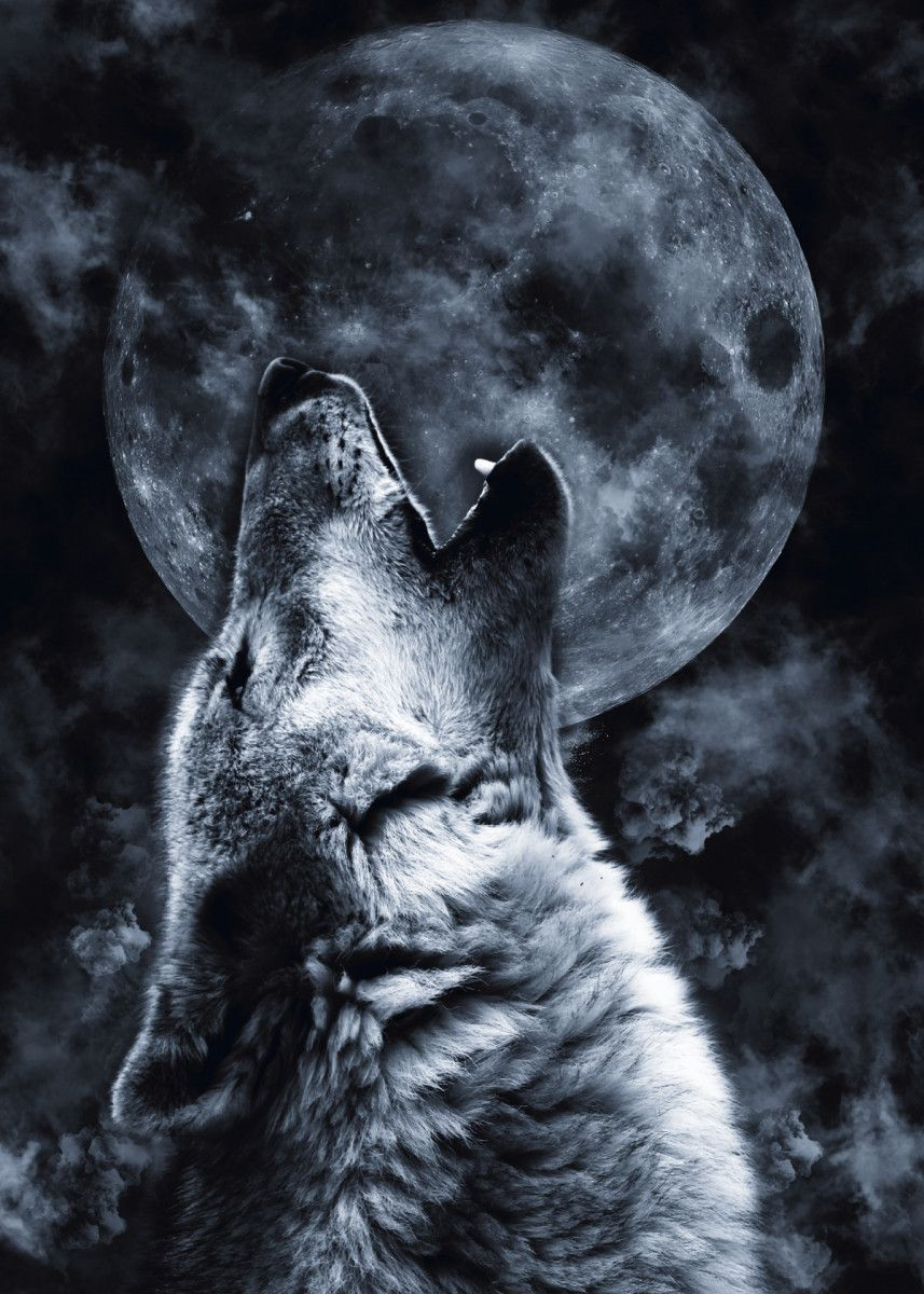 'Wolf Moon' Metal Poster - Mateusz Ślemp | Displate