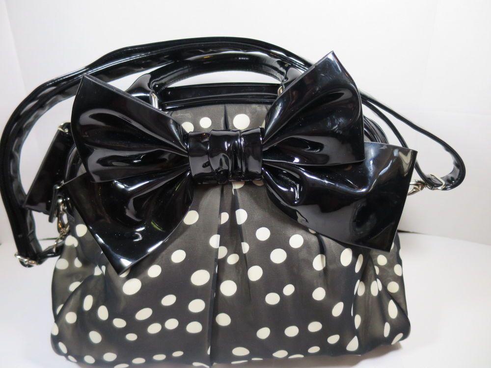 Chocolate New York Large Bow Satchel Purse Black White Polka Dot Bag Chocolatenewyork Totespers