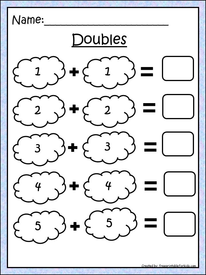First grade math printable worksheets. Practice Doubles ...