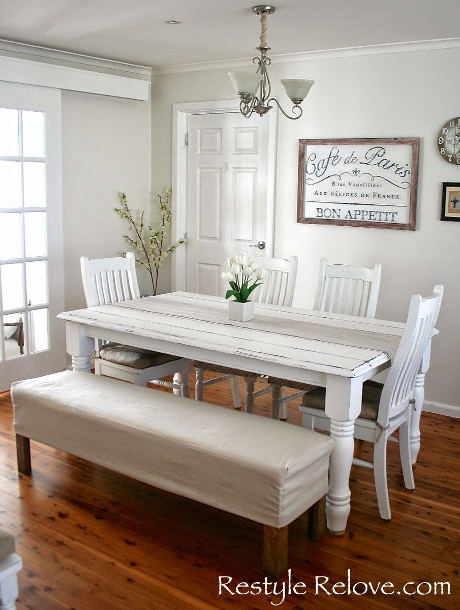 Padded Dining Room Bench Seat With Removable Washable Drop Cloth Cover Dining Room Bench Seating Dining Room Bench Dining Table With Bench