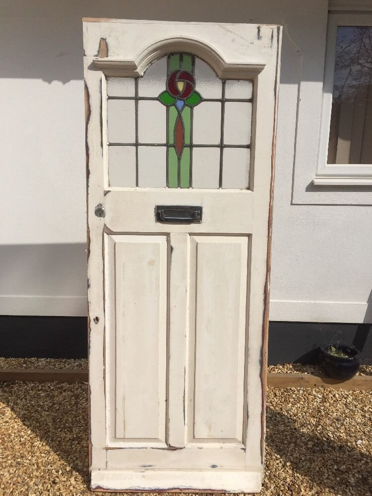 Edwardian Front Door Wood Reclaimed Wood Old Period Stained Glass
