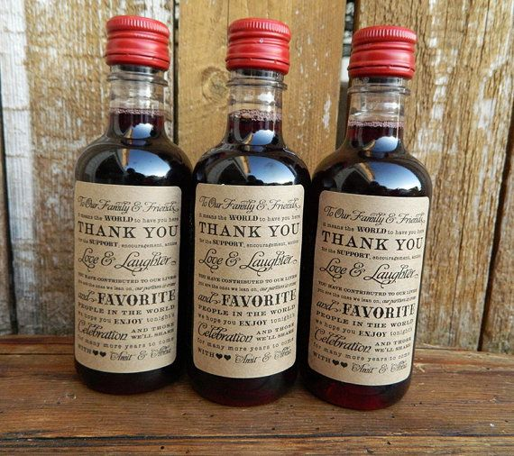 Mini wine bottle labels wedding favor by for Mini wine bottle wedding favors