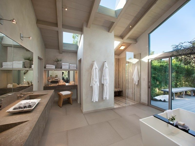Contemporary Master Bathroom with limestone tile floors, High ceiling, Double sink, Undermount sink, Slate counters, Flush