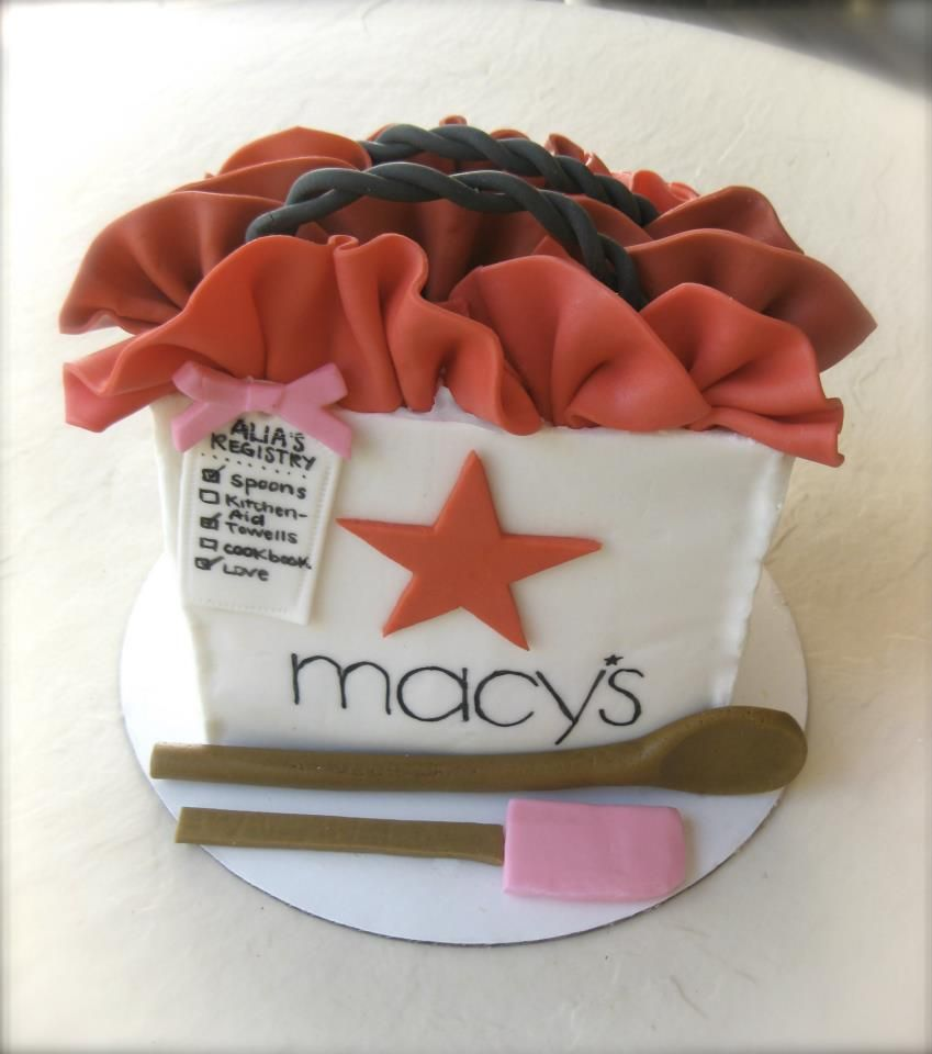 Macys Gift Bag Present Bridal Shower Cake by The Cake Baketress