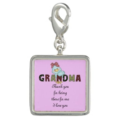 Thank you Grandma sterling silver plated charm