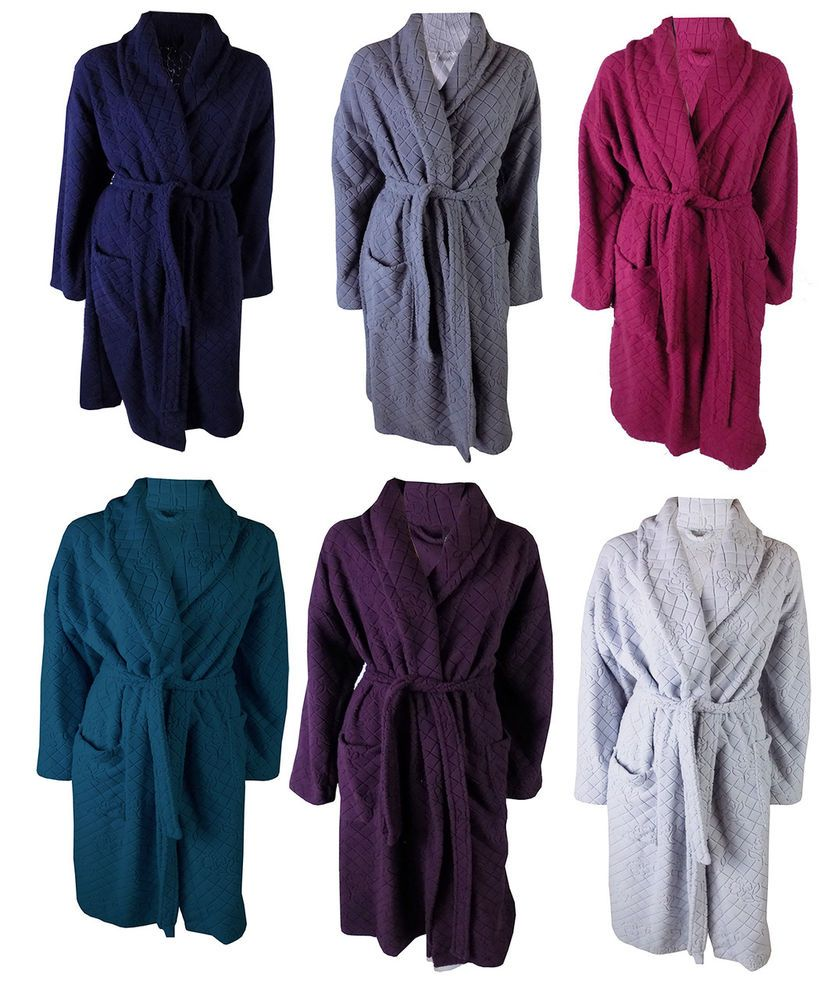 Ladies Marks Spencer Womens Jacquard Embossed Dressing Gown M&S Soft ...