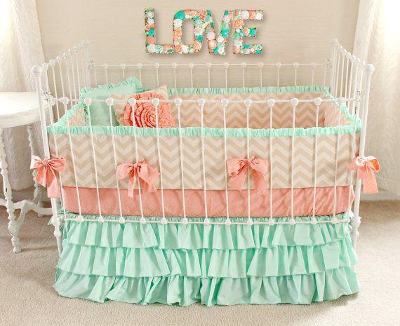 5pc Girl Baby Bedding Set Gray Peach Crib Bedding Modern Floral
