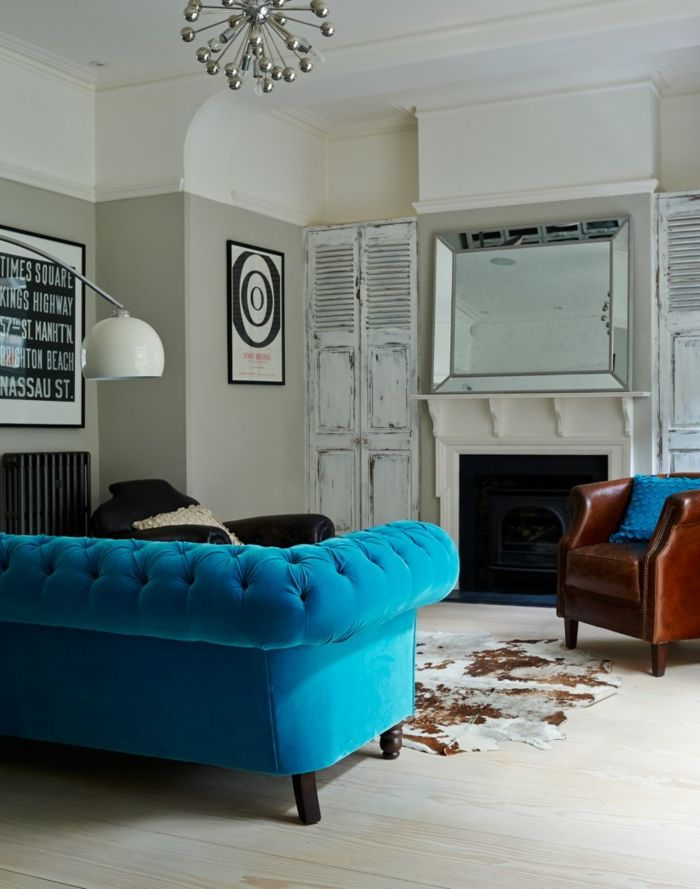 Blaues Sofa - 50 Einrichtungsideen mit Sofa in Blau, die sehenswert ...