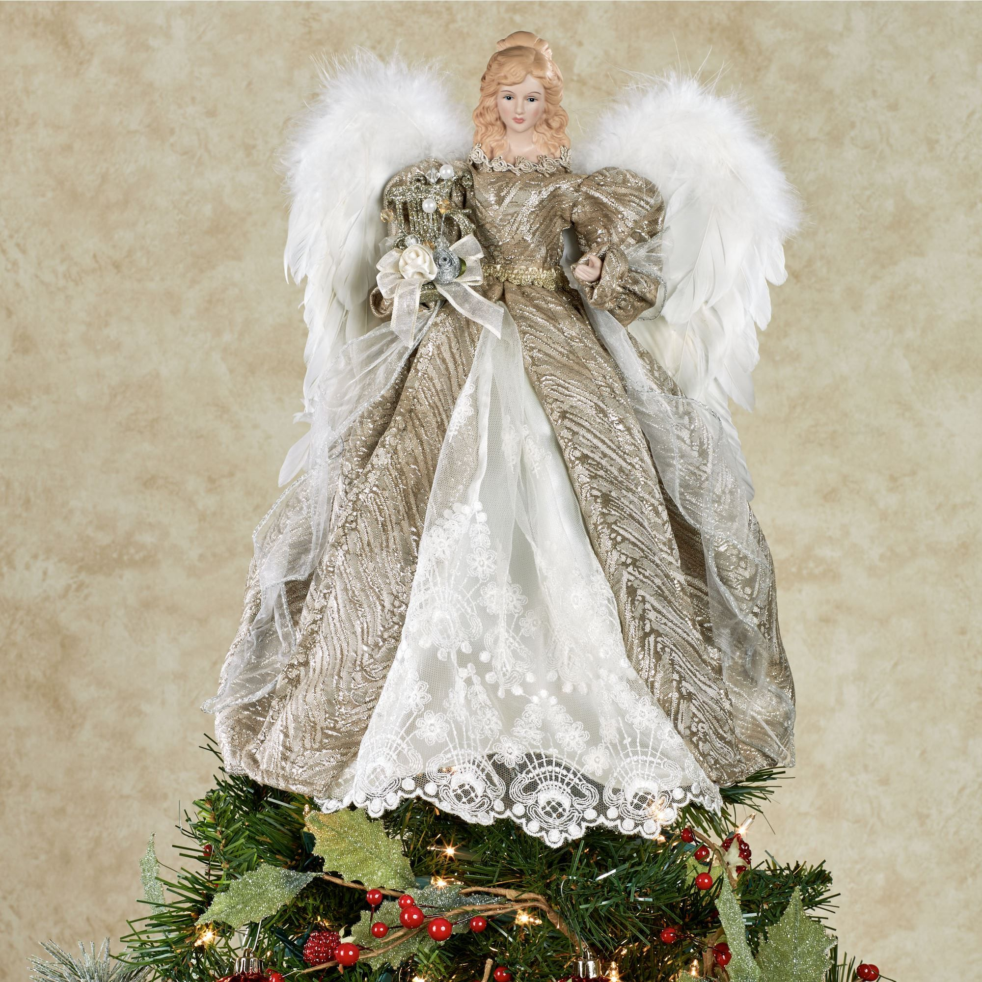 elegant angel tree topper | Home > Elegant Angel Tree Topper with ...