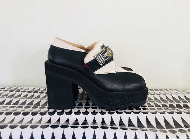 03750086433d 90s Platform Boots Chunky Heels Shoes by Destroy Size 8.5 1 2 9 in ...