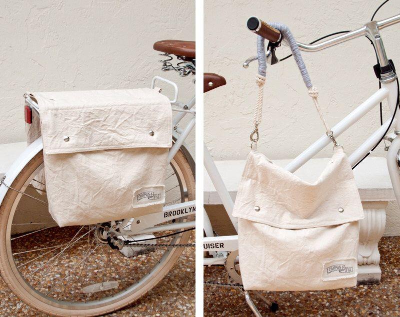 Canvas Bicycle Saddlebags Bike Pannier Shoulder Bag by theAtlanticOcean on Etsy https://www.etsy.com/listing/162278466/canvas-bicycle-saddlebags-bike-pannier