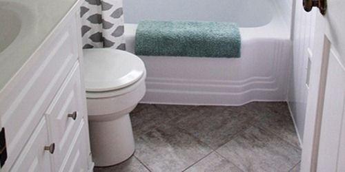 Bathroom Redo Grouted Peel And Stick Floor Tiles Floors