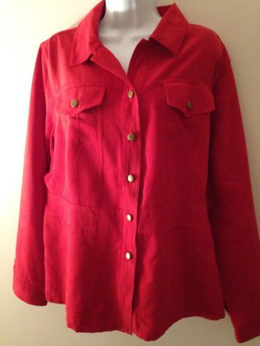 Red Faux Suede Look Shirt Womens Button Down Christmas Top Plus Size
