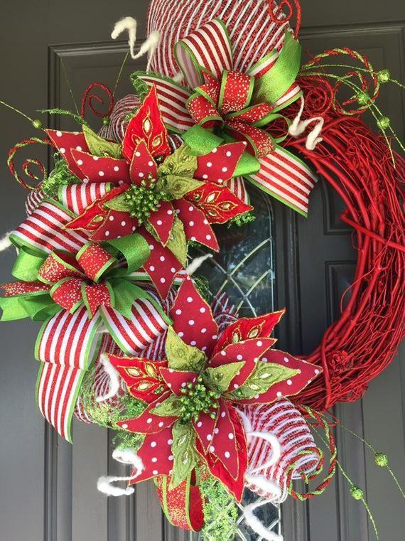Poinsettia Wreath Polka Dot Christmas Decor Whimsical Etsy Christmas Wreaths Christmas Decorations Wreaths Christmas Wreaths Diy