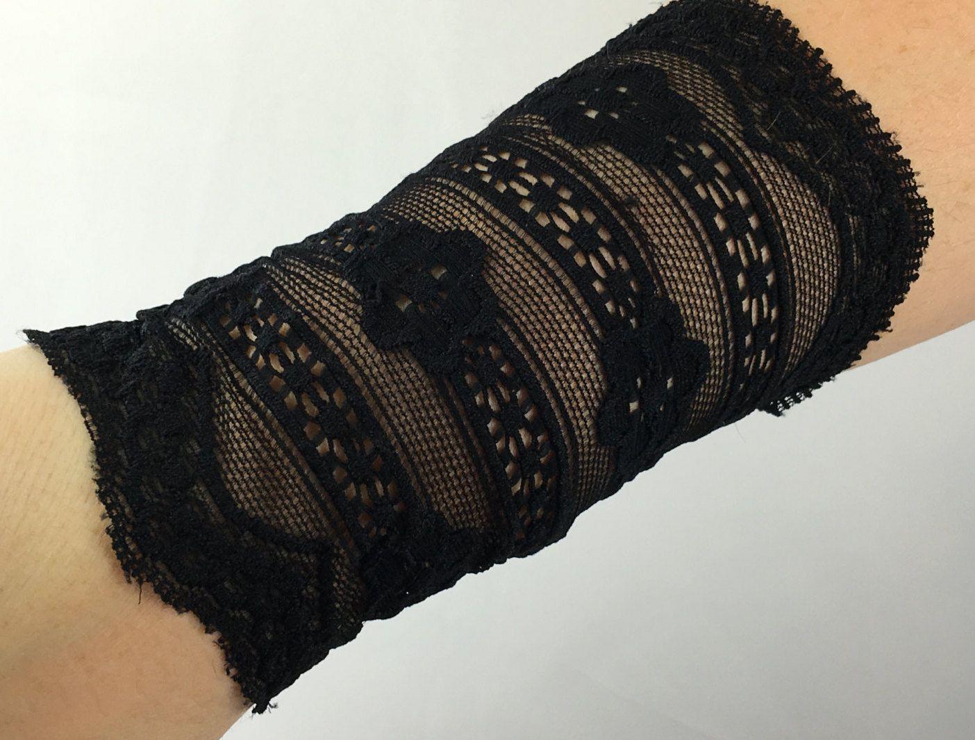 Black lace wrist cuffs wrist cuff tattoo cover up boho