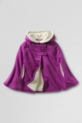 Girls' Hooded Fleece Cape from Lands' End