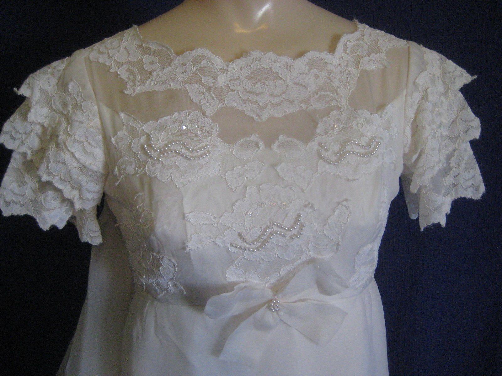 vtg 1960s WEDDING DRESS sz XS XXS Petite gown long train off-white lace beads | eBay