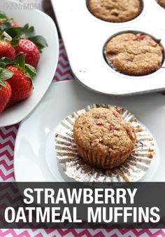 Try cooking these in the oven for breakfast tomorrow morning! This strawberry oatmeal muffin recipe is the best.