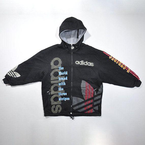 Rare Vintage 80s 90s ADIDAS Zip Hoodie Jacket Retro ADIDAS
