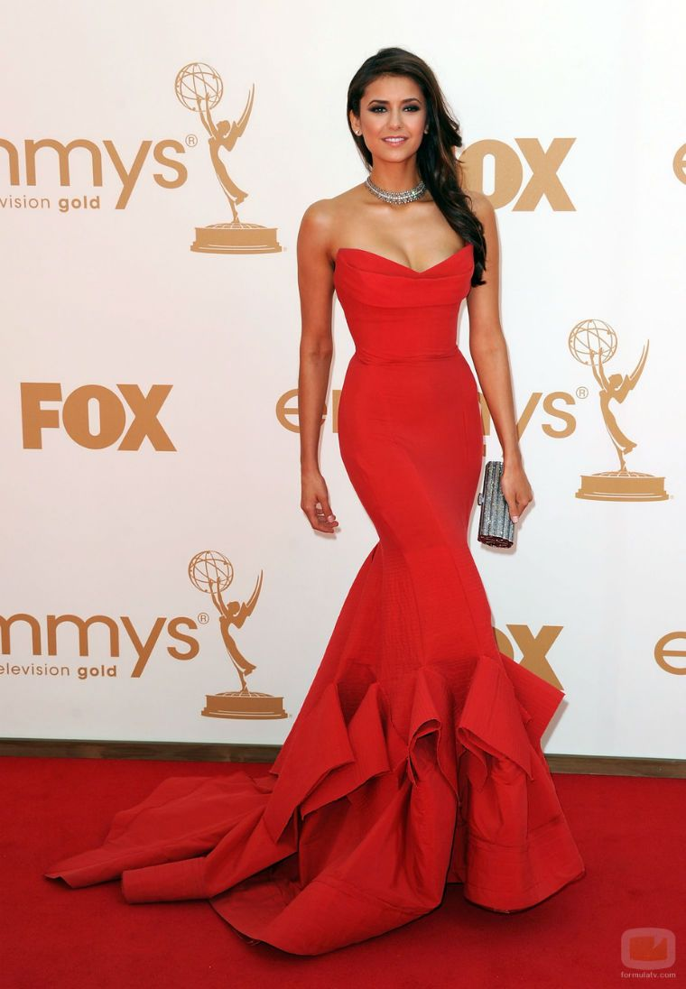 Nina Dobrev in stunning red Donna Karan! If this dress were in white ...