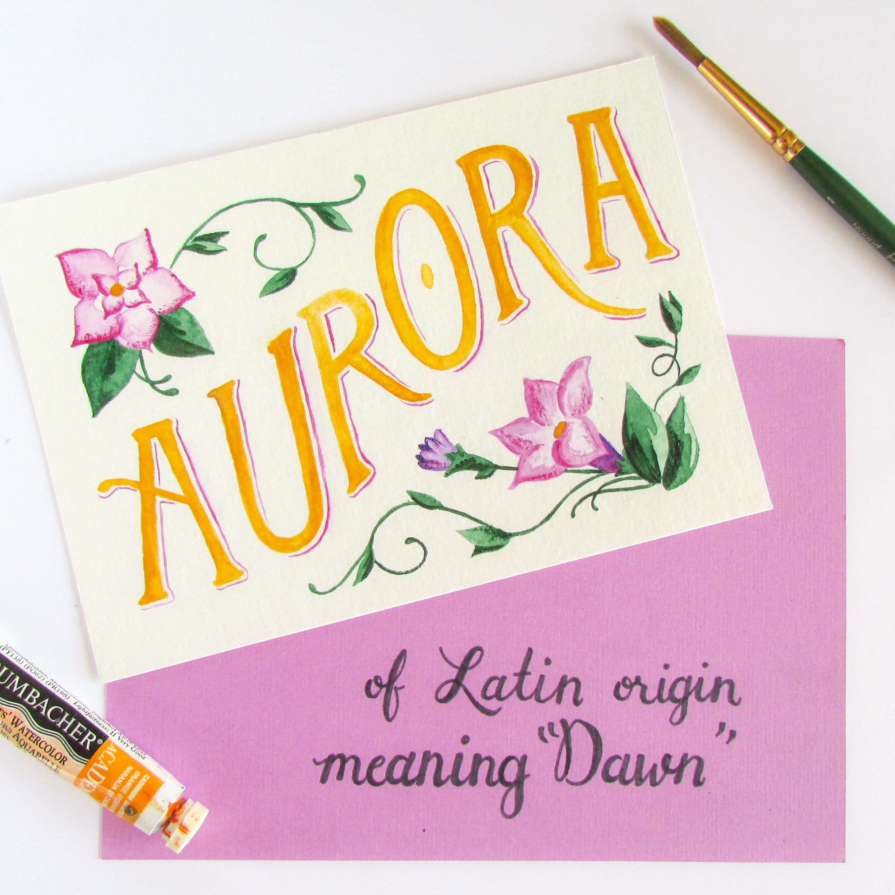 April 20th Name Of The Day Hand Lettering Challenge Aurora