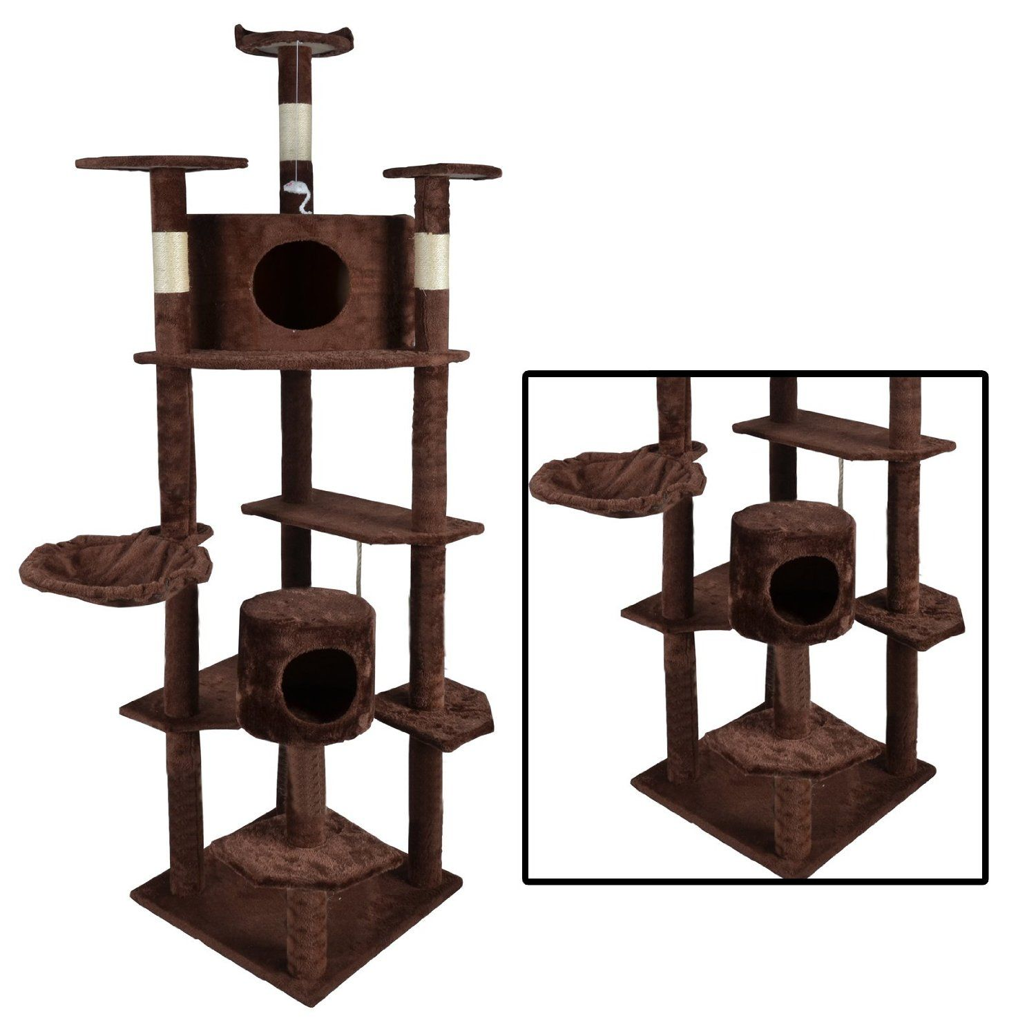 Superior BestPet 2014 Cat Tree Condo Furniture Scratch Post Pet House, Brown, 80 Inch