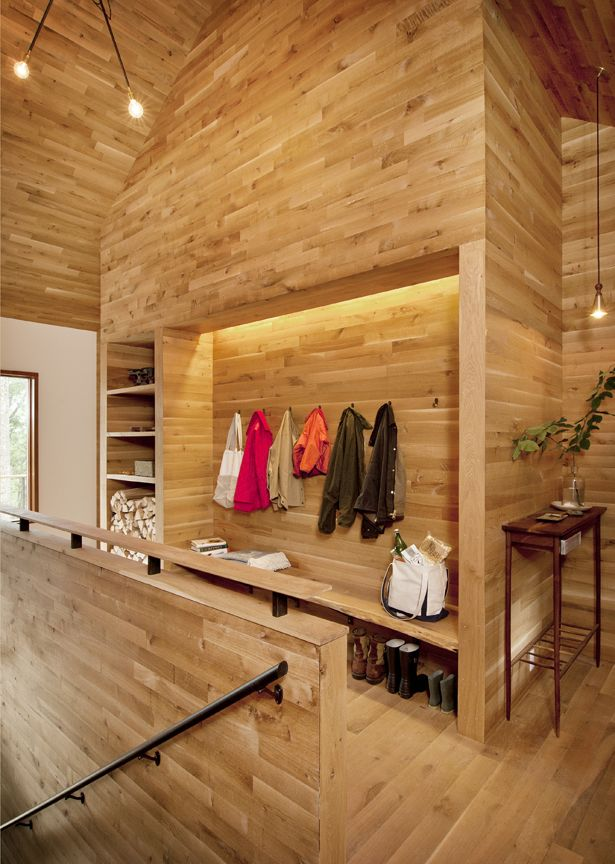 White Oak shiplap wall paneling  ceiling and wood flooring finished with  Master Oil Natural. White Oak shiplap wall paneling  ceiling and wood flooring