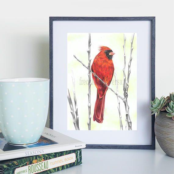 Cardinal Bird On Branch Red Decor Birb Realistic Art Animal Print Birdwatching Crimson Wildlife