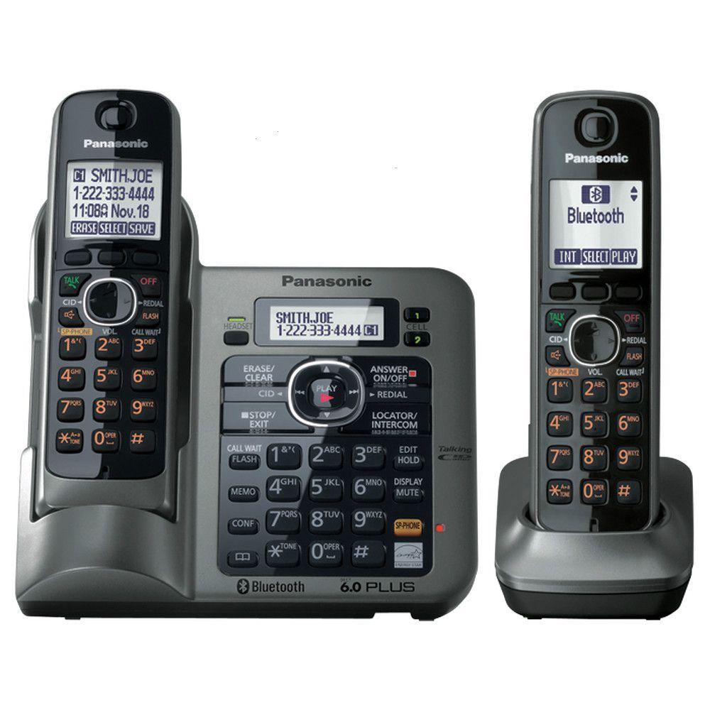 2 Portatili serie KX-TG7641 DECT 6.0 link-a-cell telefono senza fili Telefono Cordless Digitale