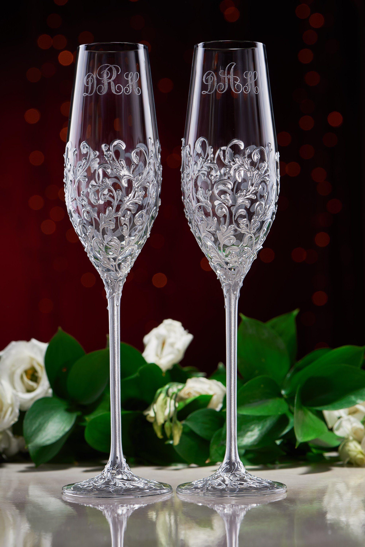 Wedding Glasses Cake Server Set Silvergold Color Personalized Etsy Wedding Glasses Wedding Flutes Toasting Flutes Wedding