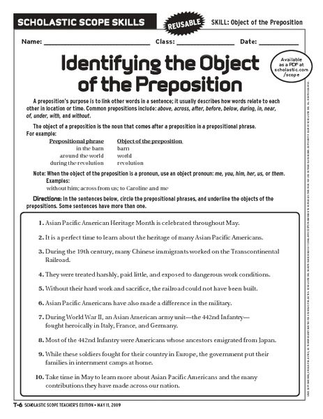 Identifying The Object Of Preposition 6th 10th Grade Preposition Worksheets Prepositions Prepositional Phrases