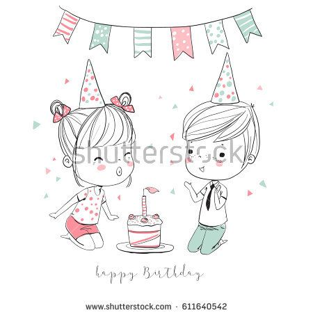 Happy Boy And Girl Having Fun At Birthday Party Birthday Doodle