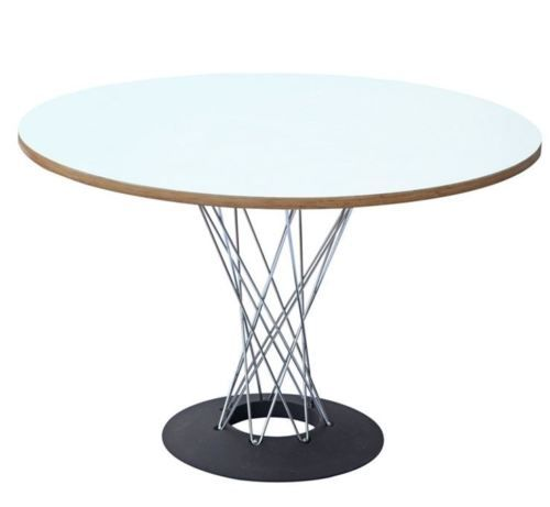 Details About Cyclone Round Wood Top Dining Table In Walnut