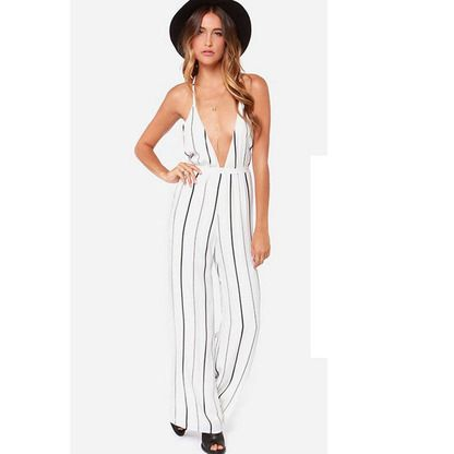 Very Low Cut Pinstripe Jumpsuit Best For Those Women With More Of A Flat Chest