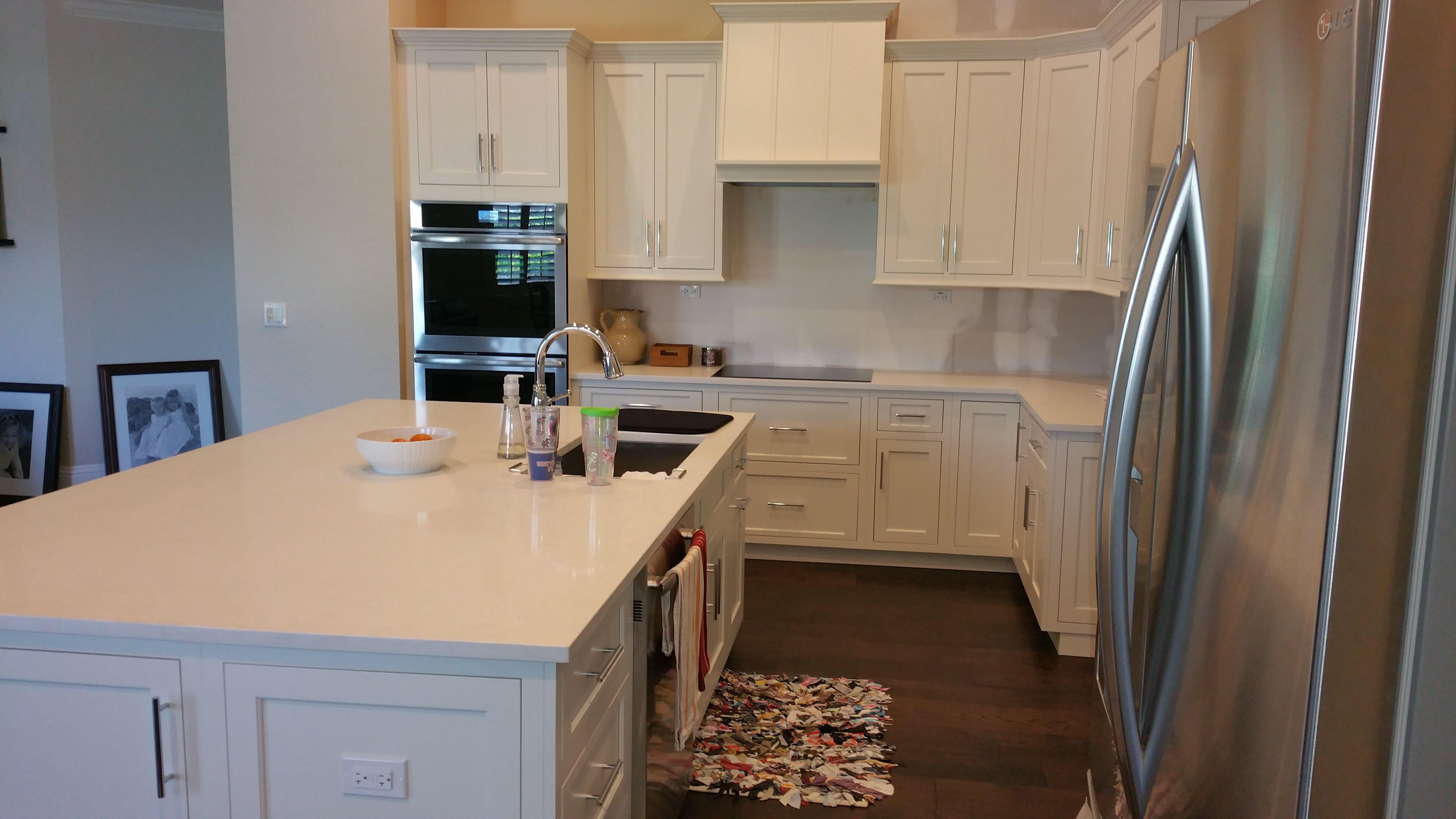 Great Use Of Space With This Immaculate Island Island Kitchen Storage Cabinets Flush Shaker Customcabinets Kitchen Beautiful Kitchens Custom Cabinets