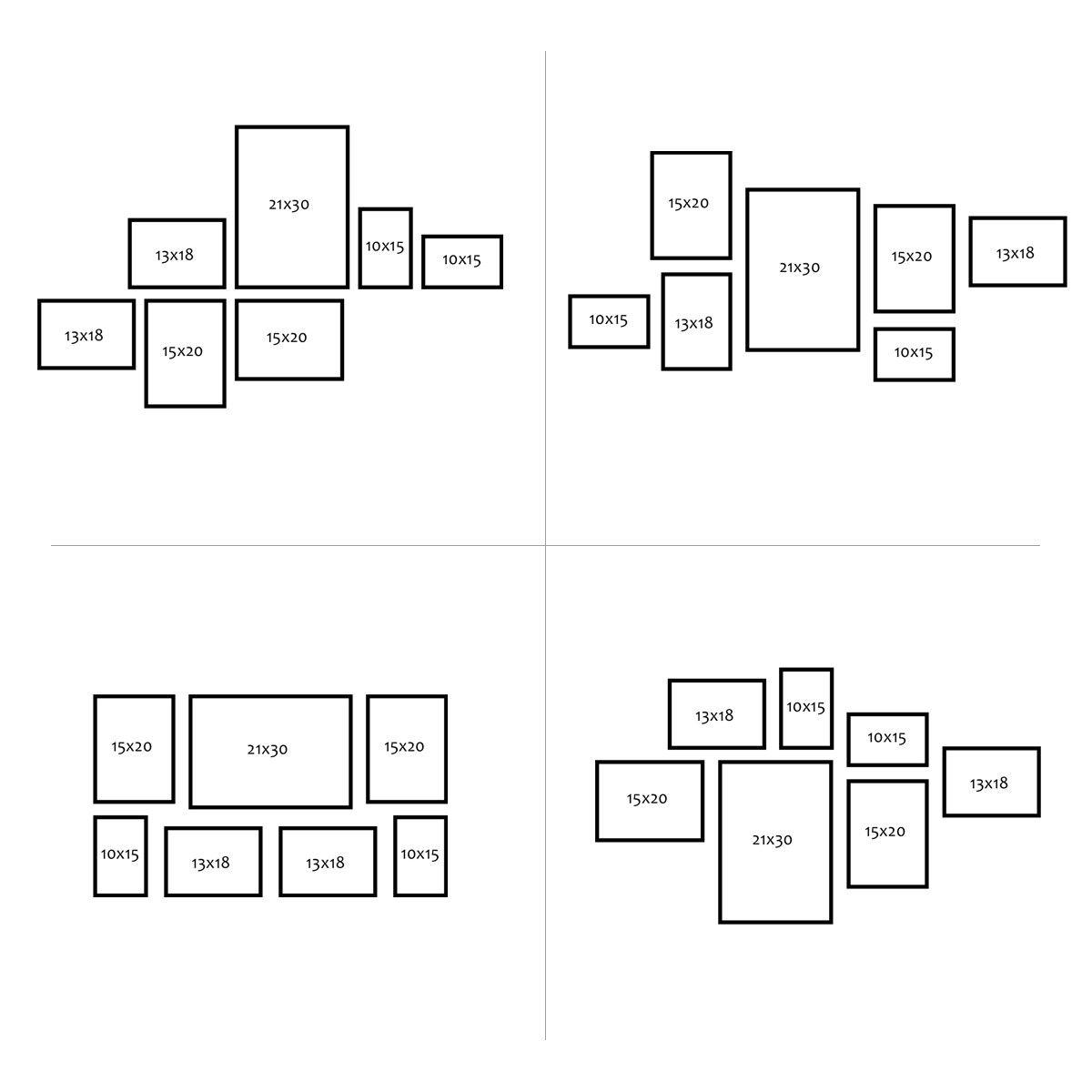 7er Bilderrahmen-Set Modern Eiche Massivholz Basic Collection