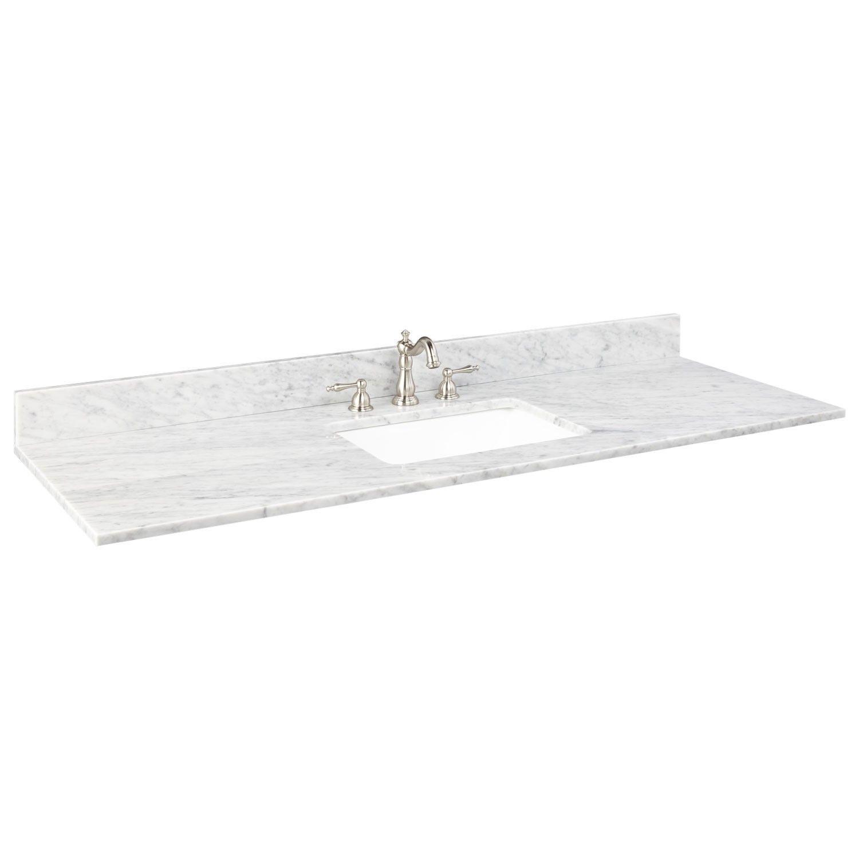 61 X 22 Marble Vanity Top For Rectangular Single Undermount Sink