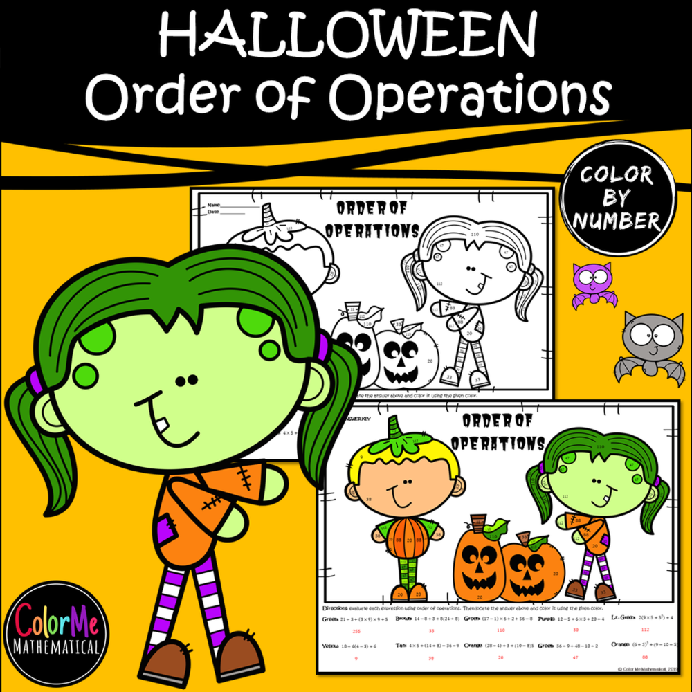 Halloween Basic Algebra Order of Operations Worksheet