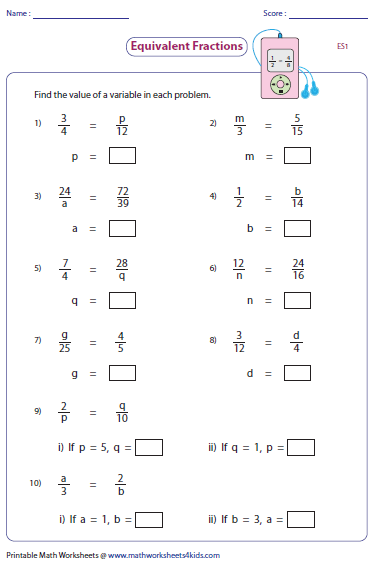 Equivalent Fractions Missing Variables Fractions Worksheets Equivalent Fractions Fractions