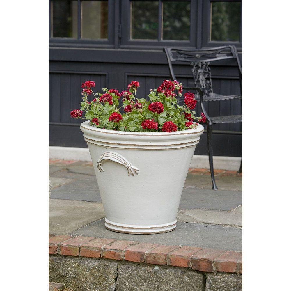 Fluted Handle French Country Garden Pots Vintage Antique White Terracotta Pots Planter Pots Flower Pots Outdoor