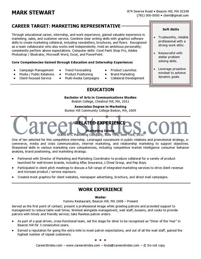 Sample Resume For Fresh College Graduate -    wwwresumecareer - resume for accounting internship