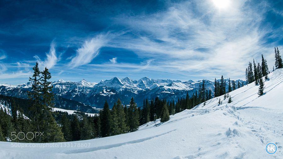 Eiger Mönch und Jungfrau Up in the mountain with view to Eiger Mönch & Jungfrau in Switzerland