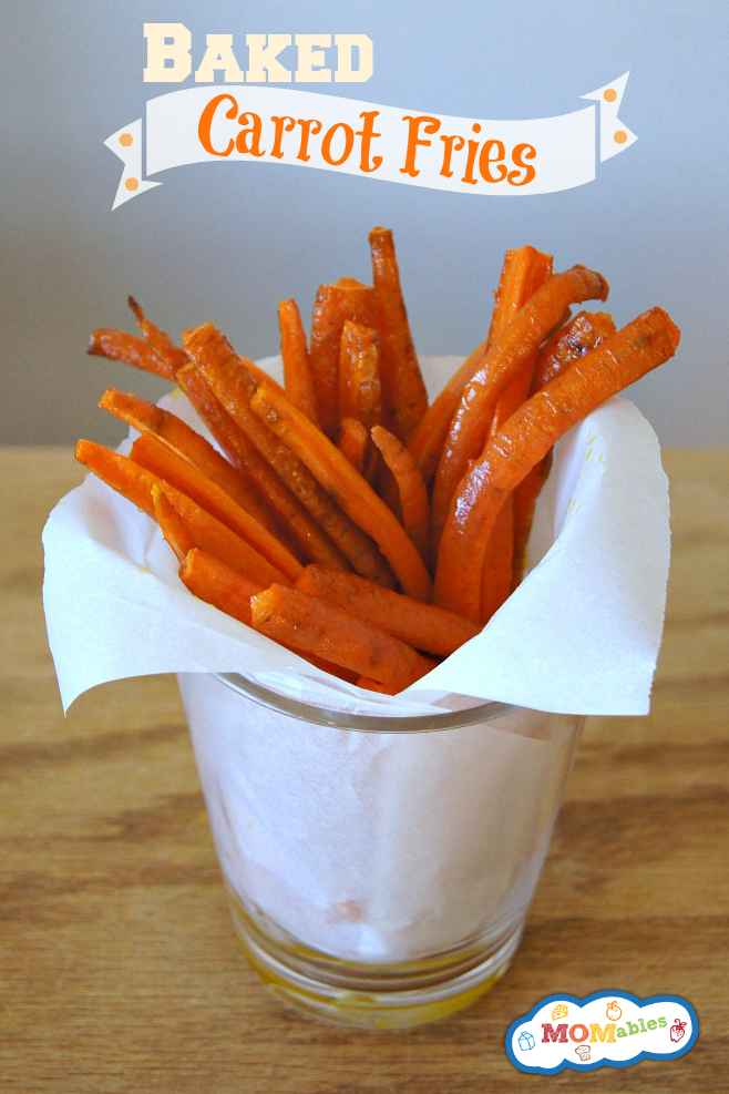 Baked Carrot Fries - a healthy snack or side dish kids will LOVE via MOMables.com