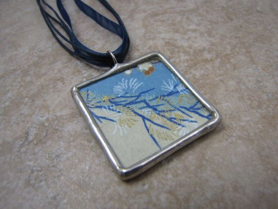 Yuzen Chiyogami Origami: Two sided soldered glass pendant by sharrashina, $22.00