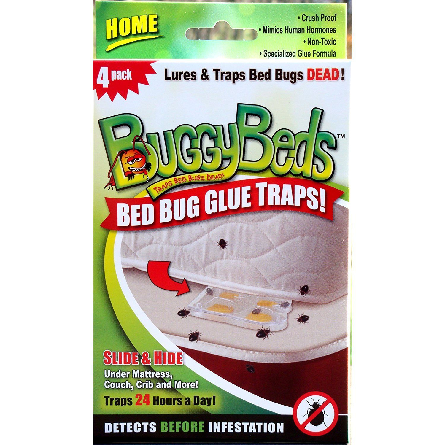 Bed Bug Trap BuggyBeds Home Glue Traps (4 Pack) Detect
