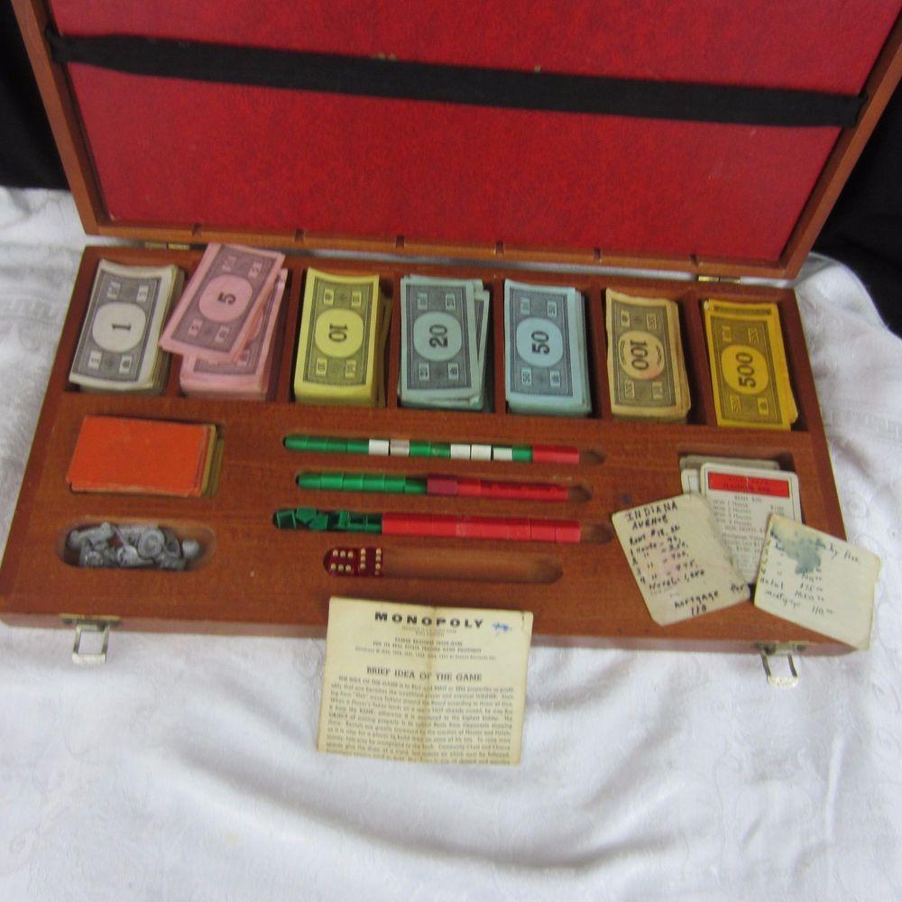 Vintage 1961 Monopoly Board Game Wood Wooden Case Box Parker Bros