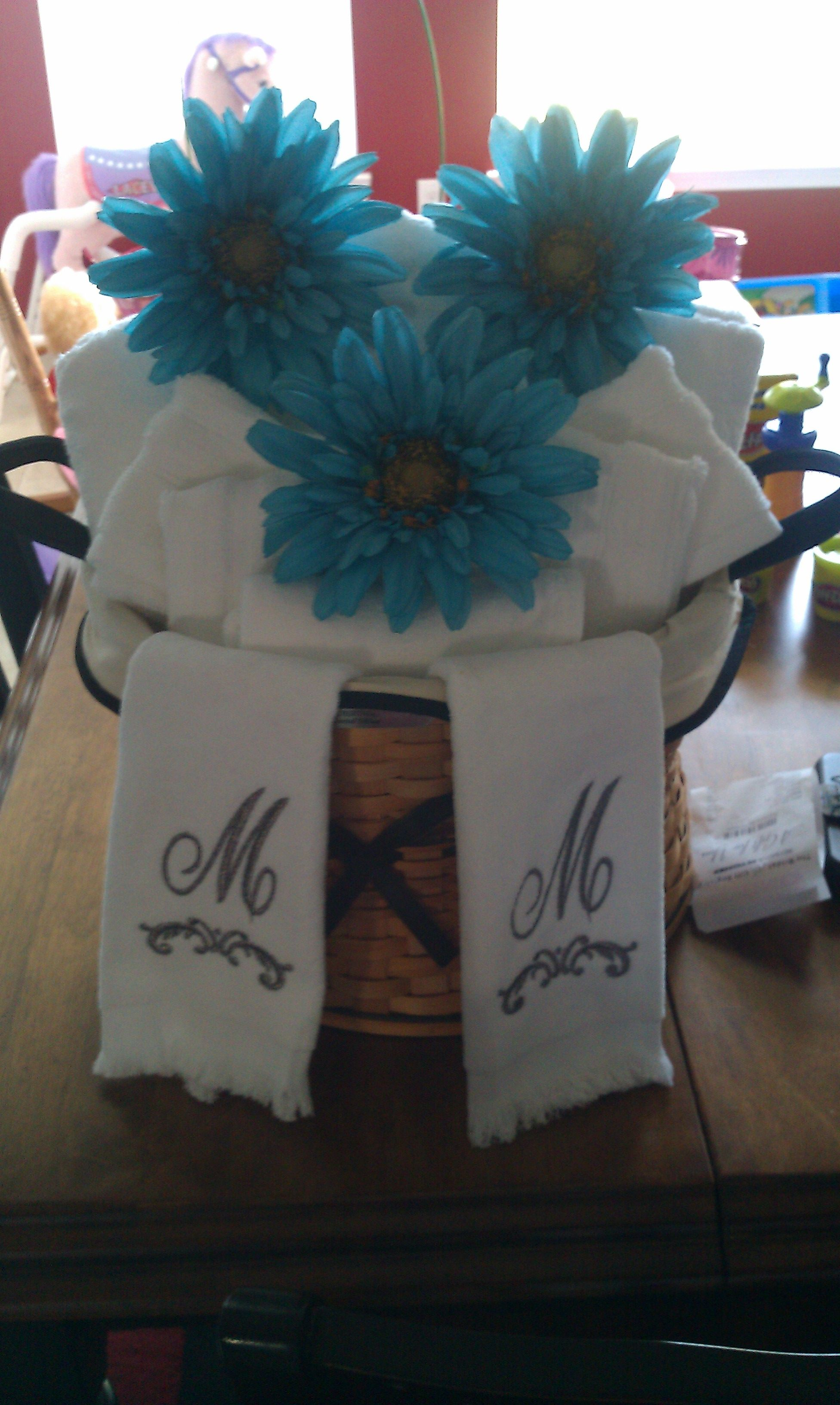 A cute way to give towels for a wedding shower gift ...