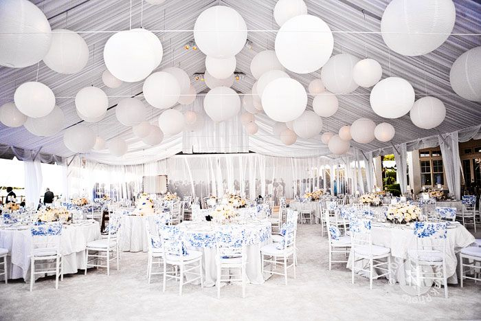 White wedding with a touch of blueen the bride in a blue fill your all white wedding marque with these fabulous white paper lanterns a chic and modern wedding style mia sposa huddersfield 01484421900 junglespirit Image collections