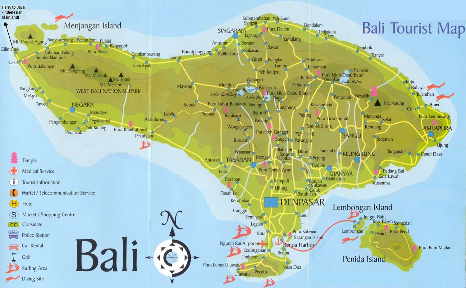 Bali Tourist Map Enjoy a wide range of attractions through specially designed tours that offer you the maximum Bali holiday experience