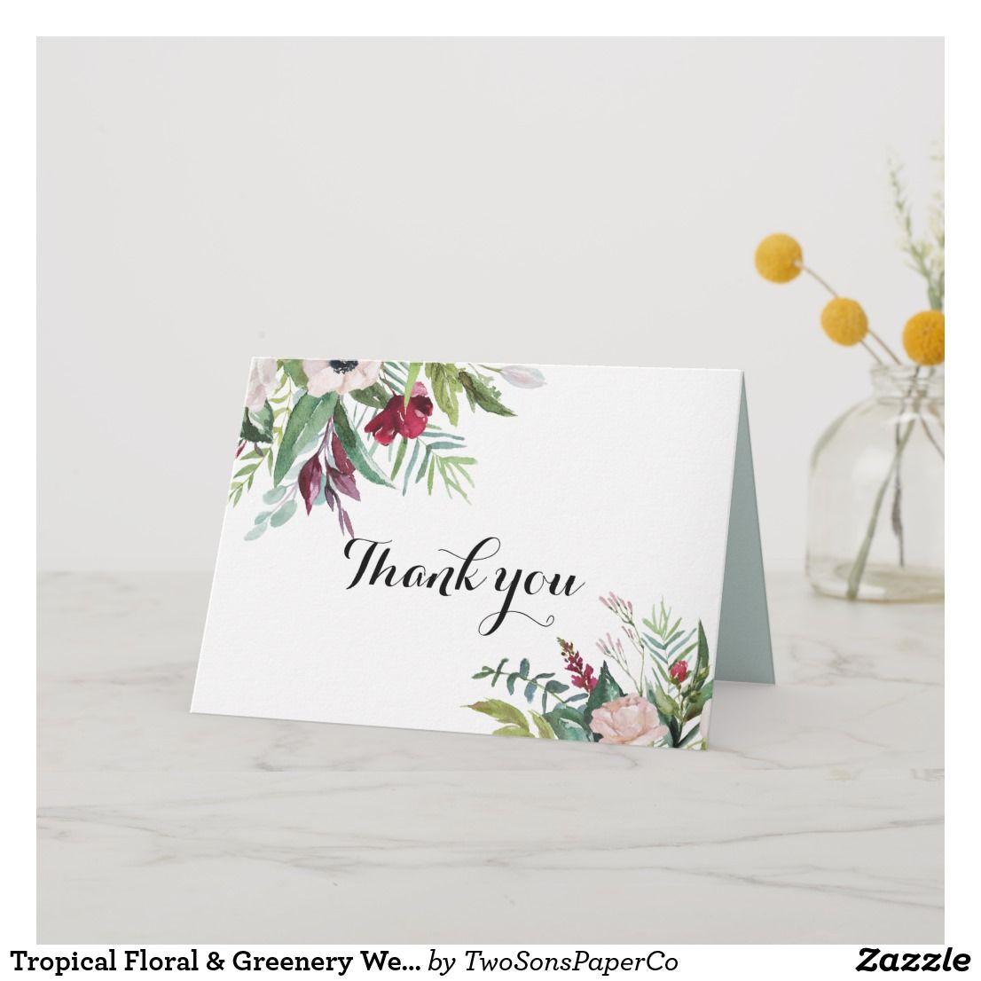 Tropical floral greenery wedding thank you card zazzle